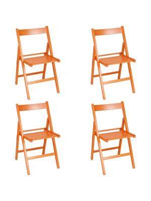 Set 4 SEDIE Pieghevoli Legno di Alta qualità, Salvaspazio (Arancione)