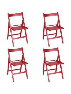Set 4 SEDIE Pieghevoli Legno di Alta qualità, Salvaspazio (Rosso)