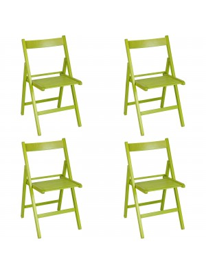 Set 4 SEDIE Pieghevoli Legno di Alta qualità, Salvaspazio (Verde)