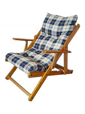 Poltrona Sedia Sdraio Harmony Relax in Legno Pieghevole 3 Posizioni (Blu Scacchi)