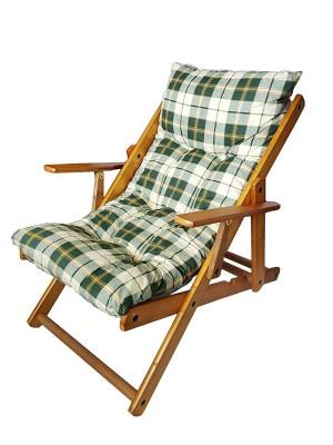 Poltrona Sedia Sdraio Harmony Relax in Legno Pieghevole 3 Posizioni (Verde Scacchi)