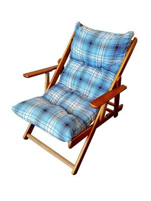 Poltrona Sedia Sdraio Harmony Relax in Legno Pieghevole 3 Posizioni (Blu)