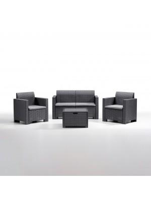 Set di divanetto poltroncine e tavolino per esterno realizzato in PP polipropilene effetto rattan resistente alle intemperie Nebraska made in italy