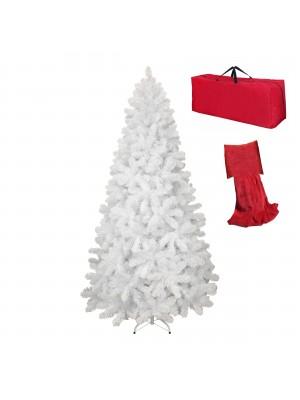 Albero di Natale Artificiale NOEL Bianco, Folto, Effetto Realistico, Rami a Gancio, Facile Montaggio, PVC, Ignifugo con Borsone (210 cm)