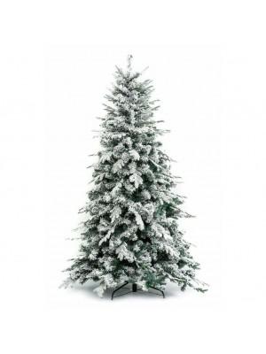 Foto di un albero di natale artificiale realistico PE real touch innevato con floccatura di fiocchi di neve bianco e verde Alaska Xone