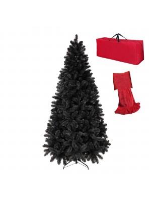 Albero di Natale Artificiale NOEL NERO, Folto, Effetto Realistico, Rami a Gancio, Facile Montaggio, PVC, Ignifugo con Borsone (210 cm)