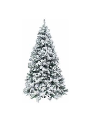 Foto di un albero di natale artificiale molto folto realistico innevato con floccatura di fiocchi di neve bianco e verde Kettinson Slim Xone