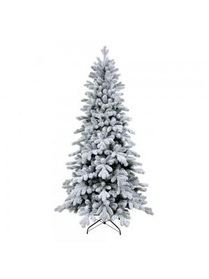 Albero di Natale innevato in PE real touch con fiocchi di neve base stretta Cervino Slim Xone