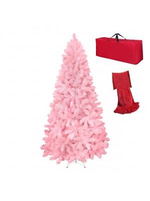 Albero di Natale Artificiale NOEL Rosa, Folto, Effetto Realistico, Rami a Gancio, Facile Montaggio, PVC, Ignifugo con Borsone (210 cm)