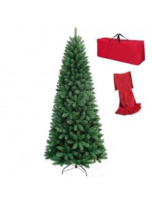 Albero di Natale Artificiale NOEL Verde SLIM, Folto, Effetto Realistico, Rami a Gancio, Facile Montaggio, PVC, Ignifugo con Borsone (210 cm)