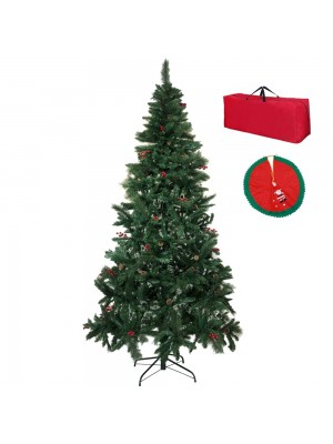 Meribel Albero di Natale Artificiale Verde con Pigne e Bacche Rosse con Borsone e gonna copribase