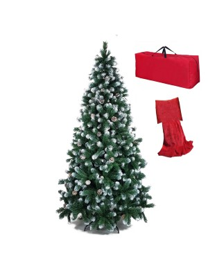 Albero di Natale Verde innevato con fiocchi di neve bianco effetto realistico con borsone e cuscino plaid regalo Noel Totò Piccinni