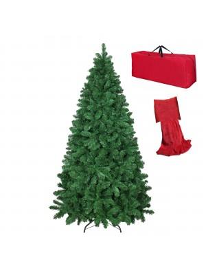 Albero di Natale Artificiale NOEL Verde, Folto, Effetto Realistico, Rami a Gancio, Facile Montaggio, PVC, Ignifugo con Borsone 210 cm