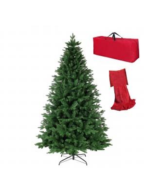 Albero di Natale Artificiale BADIA, Folto, Effetto Realistico, Rami a Ombrello, Veloce Montaggio, con Borsone (210 cm)