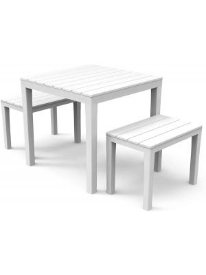 tavolo e panchine bianco