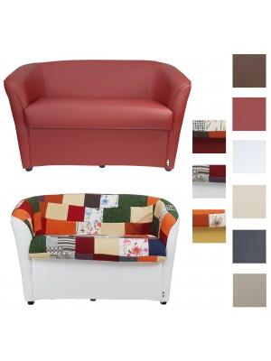 Copertina di un divano divanetto artigianale 2 posti in ecopelle tessuto patchwork in varie colorazioni made in italy Totò  Piccinni