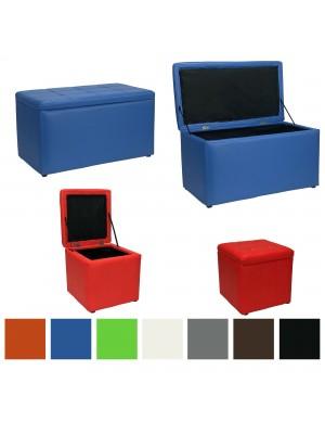 Copertina di un pouf contenitore disponibili in varie colorazioni in ecopelle