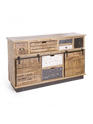 Bizzotto Credenza TUDOR 2 Ante - 7 Cassetti, Metallo, Marrone, 125x37x80 cm