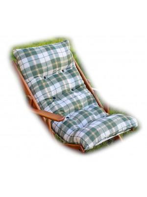 CUSCINO IMBOTTITO di RICAMBIO per poltrona sedia sdraio HARMONY RELAX, 105x55x14cm-Verde Scacchi