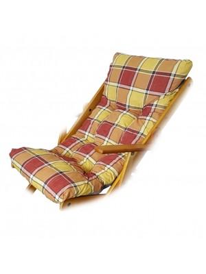 CUSCINO IMBOTTITO di RICAMBIO per poltrona sedia sdraio HARMONY RELAX, 105x55x14cm (Giallo / Bordeaux)