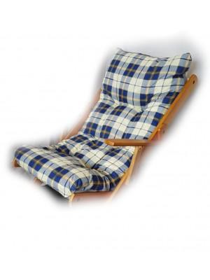 CUSCINO IMBOTTITO di RICAMBIO per poltrona sedia sdraio HARMONY RELAX, 105x55x14cm-Blu Scacchi