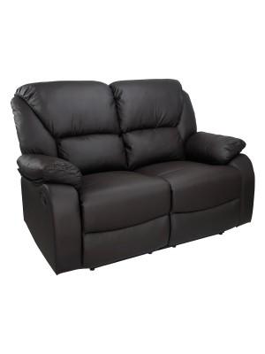 Vista di un robusto divano 2 posti imbottito relax con schienale e poggiapiedi reclinabili in ecopelle marrone Calipso Totò Piccinni