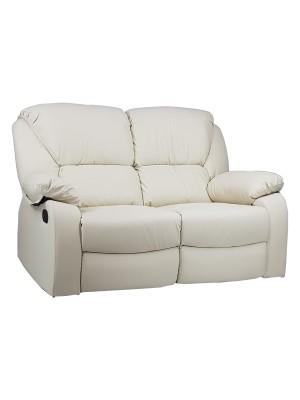 Vista diagonale di un divano 2 posti imbottito con funzione relax reclinabile e poggiapiedi in ecopelle panna Calipso Totò Piccinni