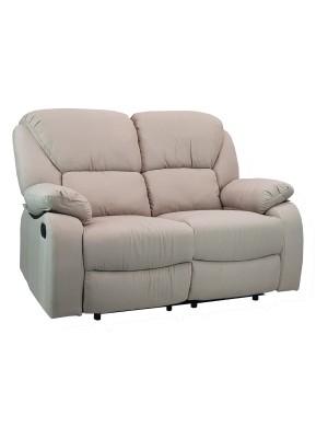 Vista diagonale di un divano 2 posti imbottito con funzione relax reclinabile e poggiapiedi in tessuto beige Calipso Totò Piccinni