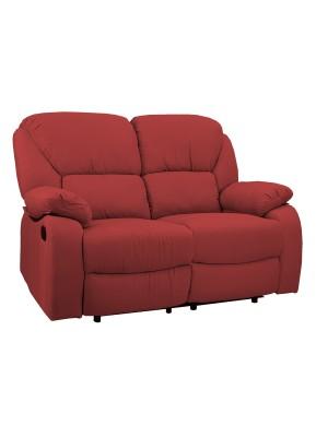 Vista diagonale di un divano 2 posti imbottito con funzione relax reclinabile e poggiapiedi in tessuto rosso bordeaux Calipso Totò Piccinni