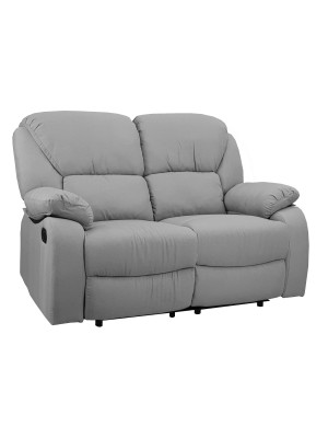 Vista diagonale di un divano 2 posti imbottito con funzione relax reclinabile e poggiapiedi in tessuto grigio chiaro Calipso Totò Piccinni
