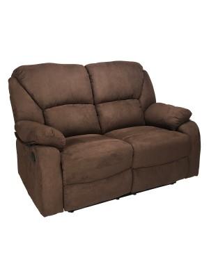 Vista di un robusto divanetto imbottito relax con schienale e poggiapiedi reclinabili in tessuto marrone Calipso Totò Piccinni