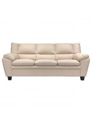 Vista frontale di un divano 3 posti imbottito e rivestito in ecopelle effetto nabuk beige Totò Piccinni