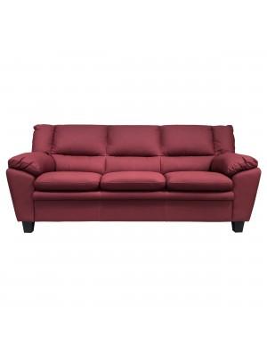 Vista frontale di un divano 3 posti imbottito e rivestito in ecopelle effetto nabuk bordeaux Totò Piccinni