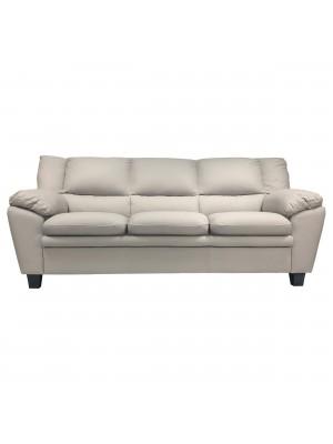 Vista frontale di un divano 3 posti imbottito e rivestito in ecopelle effetto nabuk cenere Totò Piccinni