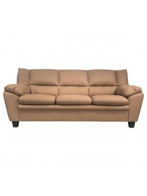 Vista frontale di un divano 3 posti imbottito e rivestito in ecopelle effetto nabuk dark camel Totò Piccinni