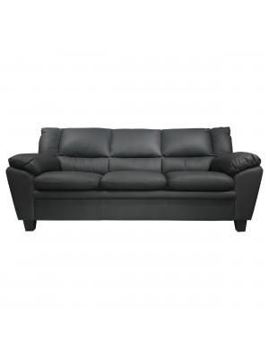 Vista frontale di un divano 3 posti imbottito e rivestito in ecopelle effetto nabuk old grey Totò Piccinni