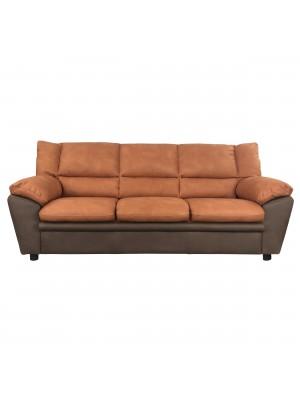 Vista frontale di un divano 3 posti imbottito e rivestito in ecopelle effetto nabuk arancione e testa di moro Totò Piccinni
