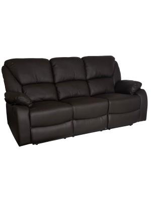 Vista diagonale di un divano 3 posti imbottito con funzione relax reclinabile e poggiapiedi in ecopelle marrone Calipso Totò Piccinni