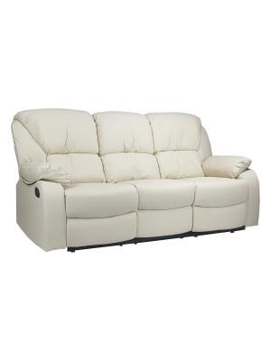 Vista diagonale di un divano 3 posti imbottito con funzione relax reclinabile e poggiapiedi in ecopelle panna Calipso Totò Piccinni