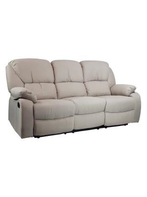 Vista diagonale di un divano 3 posti imbottito con funzione relax reclinabile e poggiapiedi in tessuto beige Calipso Totò Piccinni