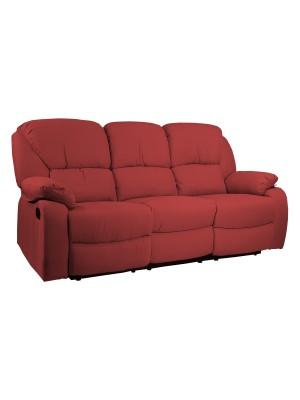 Vista diagonale di un divano 3 posti imbottito con funzione relax reclinabile e poggiapiedi in tessuto rosso bordeaux Calipso Totò Piccinni
