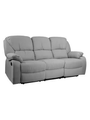 Vista diagonale di un divano 3 posti imbottito con funzione relax reclinabile e poggiapiedi in tessuto grigio chiaro Calipso Totò Piccinni