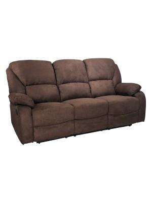 Vista di un robusto divano 3 posti imbottito relax con schienale e poggiapiedi reclinabili in tessuto marrone Calipso Totò Piccinni