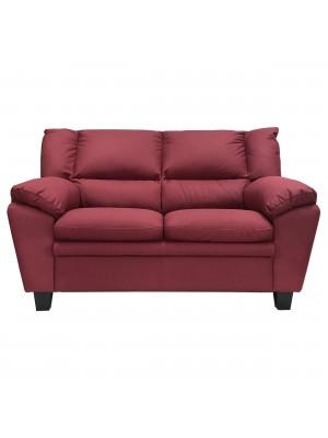 Vista frontale di un divano 2 posti imbottito e rivestito in ecopelle effetto nabuk bordeaux Totò Piccinni
