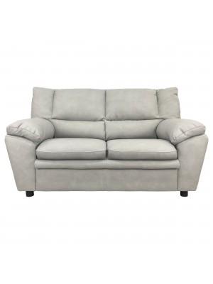 Vista frontale di un divano 2 posti imbottito e rivestito in ecopelle effetto nabuk cenere Totò Piccinni