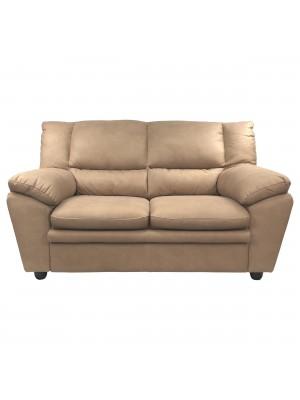 Vista frontale di un divano 2 posti imbottito e rivestito in ecopelle effetto nabuk dark camel Totò Piccinni