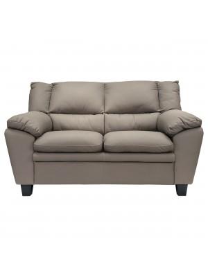 Vista frontale di un divano 2 posti imbottito e rivestito in ecopelle effetto nabuk elephant Totò Piccinni