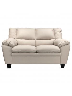 Vista frontale di un divano 2 posti imbottito e rivestito in ecopelle effetto nabuk light grey Totò Piccinni