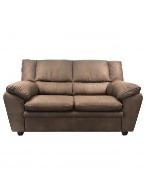 Vista frontale di un divano 2 posti imbottito e rivestito in ecopelle effetto nabuk old brown Totò Piccinni