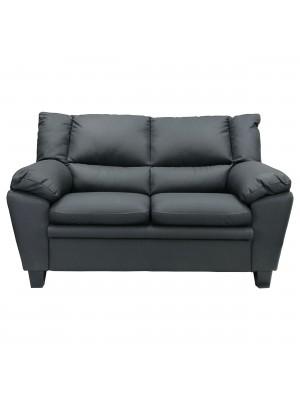 Vista frontale di un divano 2 posti imbottito e rivestito in ecopelle effetto nabuk old grey Totò Piccinni